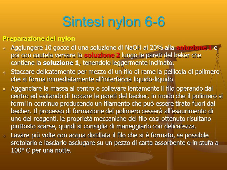 Sintesi nylon 6-6 Preparazione del nylon  Aggiungere 10 gocce di una soluzione di NaOH al 20% alla soluzione 1 e poi con cautela versare la soluzione