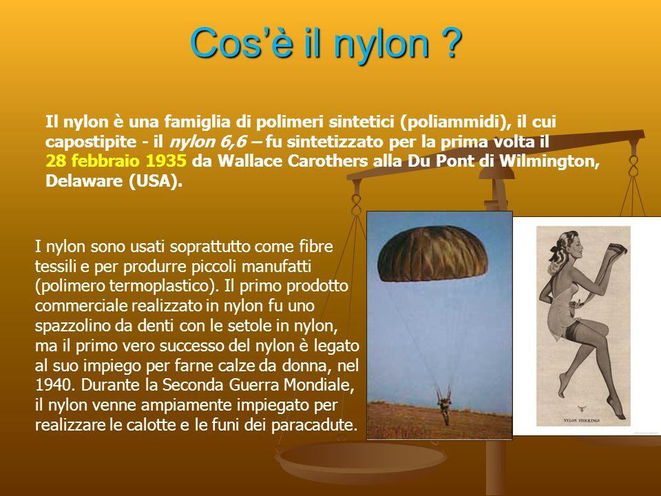 Cos'è il nylon ? Il nylon è una famiglia di polimeri sintetici (poliammidi), il cui capostipite - il nylon 6,6 – fu sintetizzato per la prima volta il