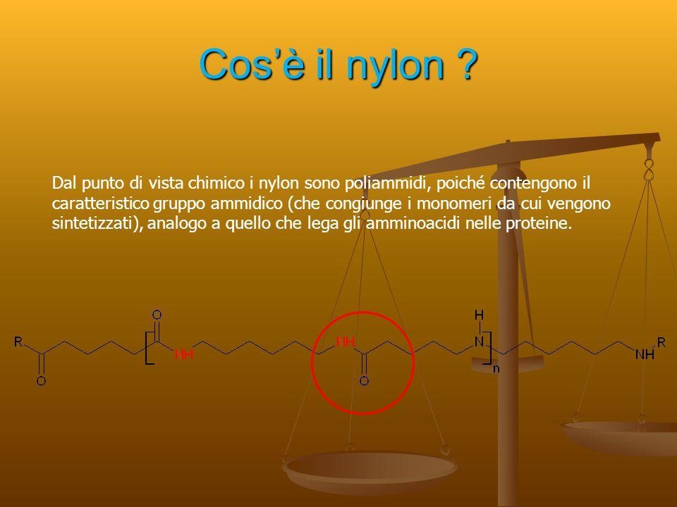 Cos'è il nylon ? Dal punto di vista chimico i nylon sono poliammidi, poiché contengono il caratteristico gruppo ammidico (che congiunge i monomeri da