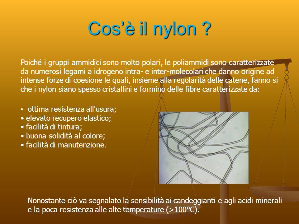 Cos'è il nylon ? Poiché i gruppi ammidici sono molto polari, le poliammidi sono caratterizzate da numerosi legami a idrogeno intra- e inter-molecolari