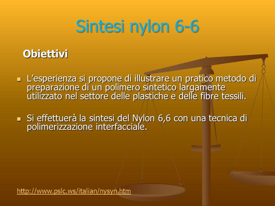 Sintesi nylon 6-6 Reattivi usati : Reattivi usati : Adipoil cloruro liquido Adipoil cloruro liquido (esandioil dicloruro) Esametilendiammina Esametilendiammina (1,6 diamminoesano )