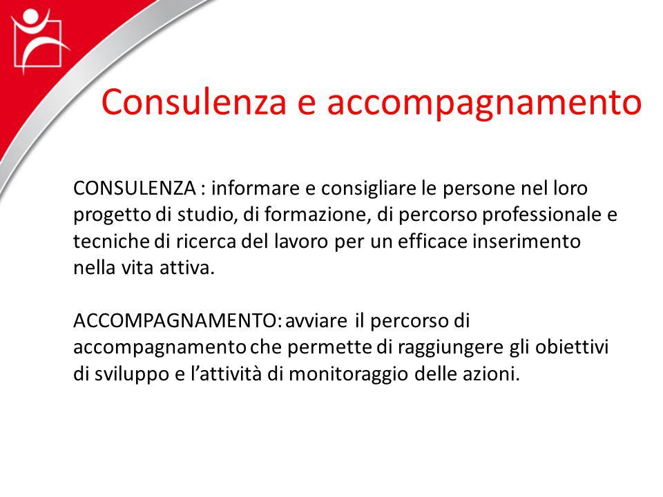 Consulenza e accompagnamento CONSULENZA : informare e consigliare le persone nel loro progetto di studio, di formazione, di percorso professionale e t