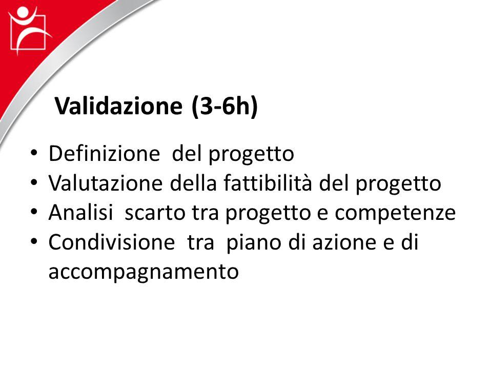 Validazione (3-6h) Definizione del progetto Valutazione della fattibilità del progetto Analisi scarto tra progetto e competenze Condivisione tra piano di azione e di accompagnamento