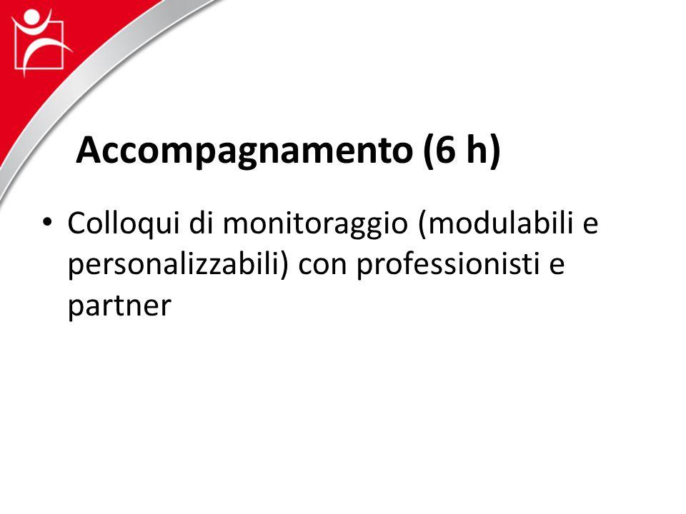 Accompagnamento (6 h) Colloqui di monitoraggio (modulabili e personalizzabili) con professionisti e partner