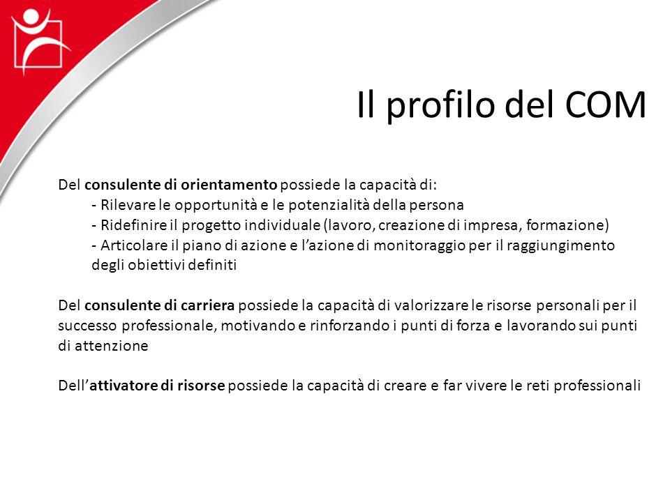 Del consulente di orientamento possiede la capacità di: - Rilevare le opportunità e le potenzialità della persona - Ridefinire il progetto individuale