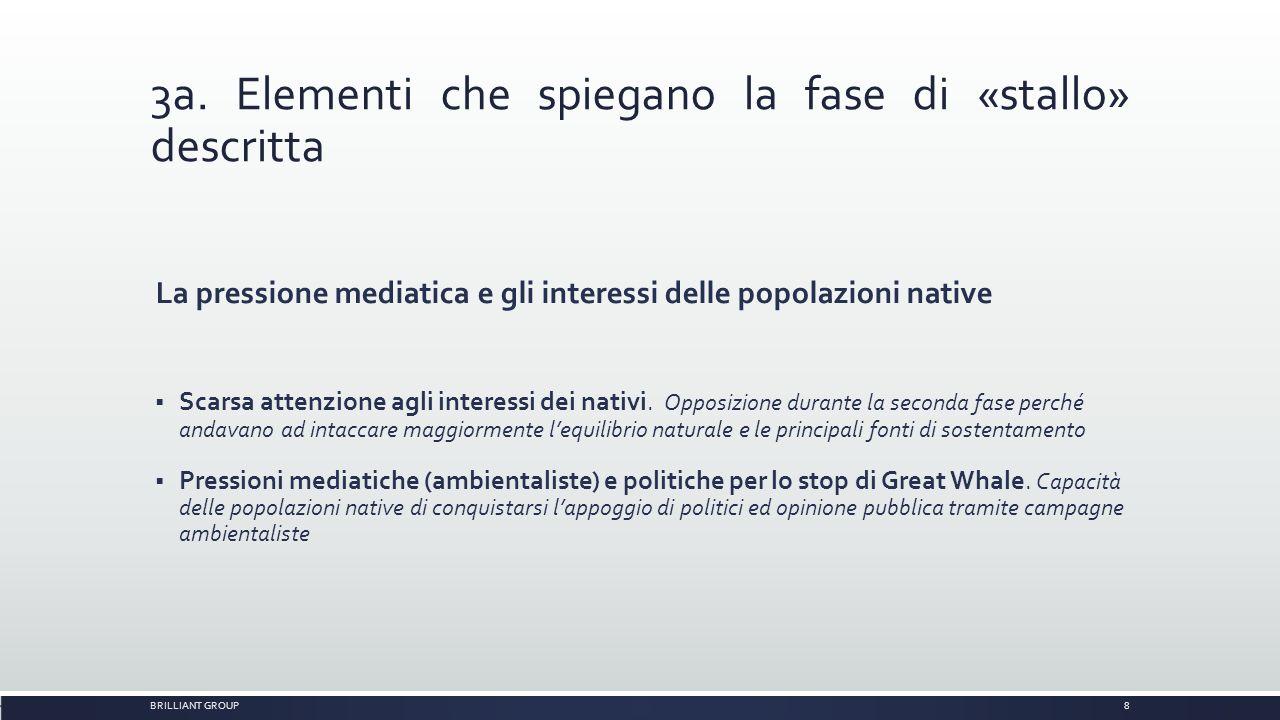 3a. Elementi che spiegano la fase di «stallo» descritta La pressione mediatica e gli interessi delle popolazioni native  Scarsa attenzione agli inter