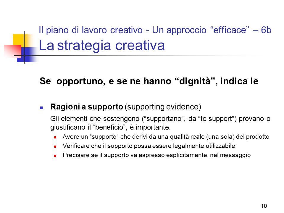 """10 Il piano di lavoro creativo - Un approccio """"efficace"""" – 6b La strategia creativa Se opportuno, e se ne hanno """"dignità"""", indica le Ragioni a support"""