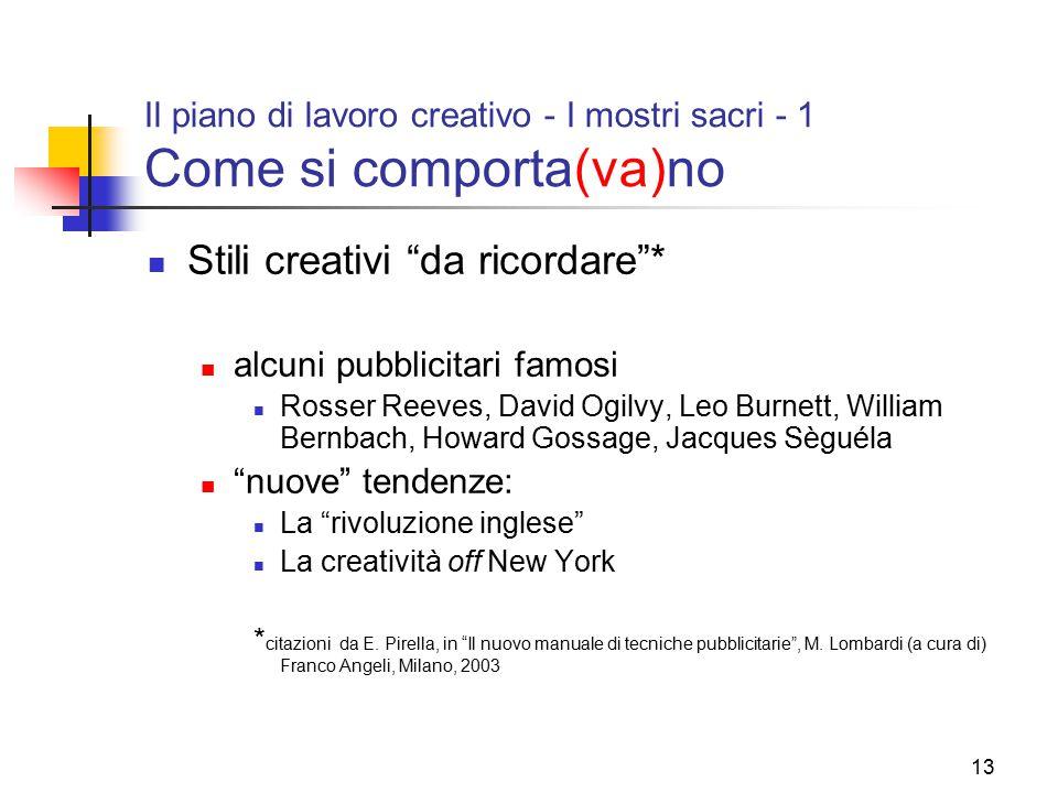 """13 Il piano di lavoro creativo - I mostri sacri - 1 Come si comporta(va)no Stili creativi """"da ricordare""""* alcuni pubblicitari famosi Rosser Reeves, Da"""