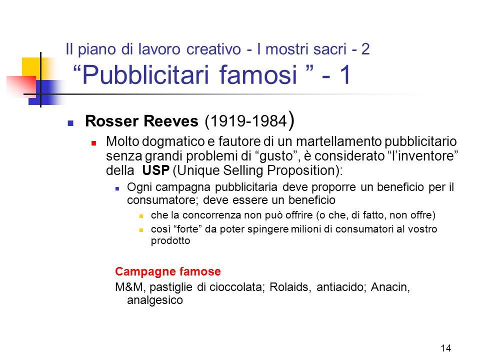 """14 Il piano di lavoro creativo - I mostri sacri - 2 """"Pubblicitari famosi """" - 1 Rosser Reeves (1919-1984 ) Molto dogmatico e fautore di un martellament"""