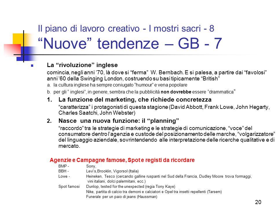 """20 Il piano di lavoro creativo - I mostri sacri - 8 """"Nuove"""" tendenze – GB - 7 La """"rivoluzione"""" inglese comincia, negli anni '70, là dove si """"ferma"""" W."""