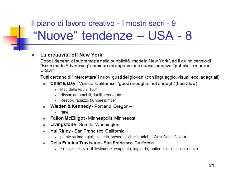 """21 Il piano di lavoro creativo - I mostri sacri - 9 """"Nuove"""" tendenze – USA - 8 La creatività off New York Dopo i decenni di supremazia della pubblicit"""