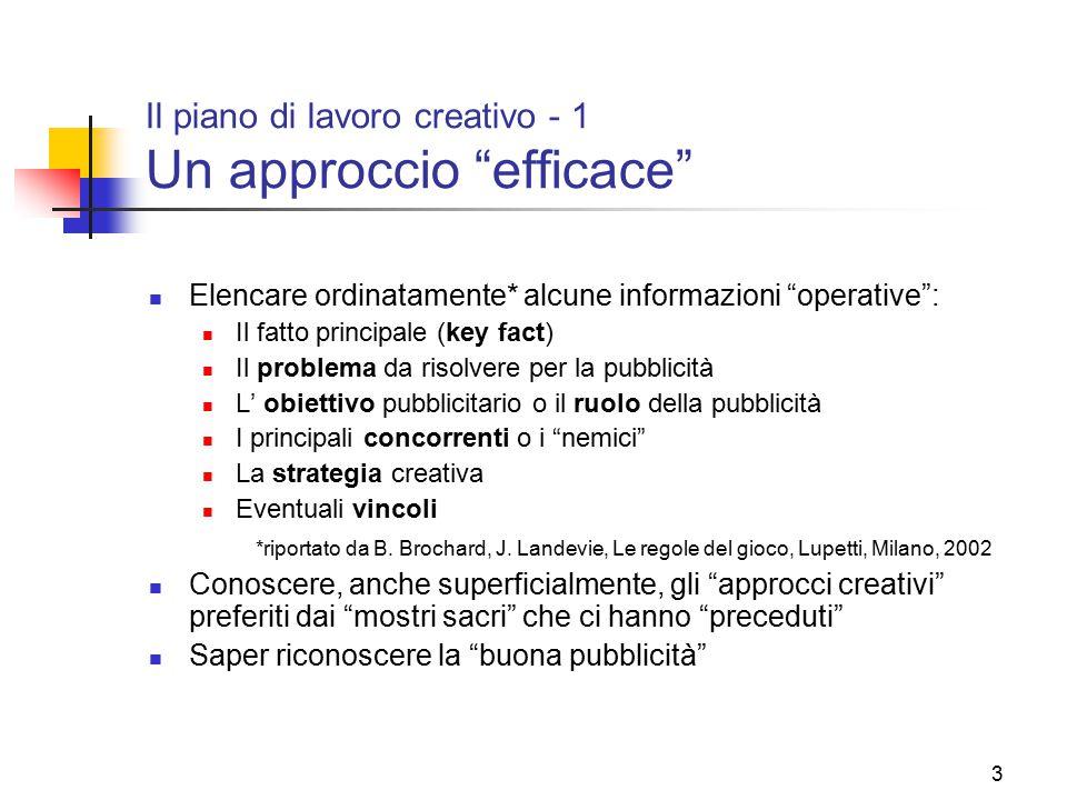 """3 Il piano di lavoro creativo - 1 Un approccio """"efficace"""" Elencare ordinatamente* alcune informazioni """"operative"""": Il fatto principale (key fact) Il p"""