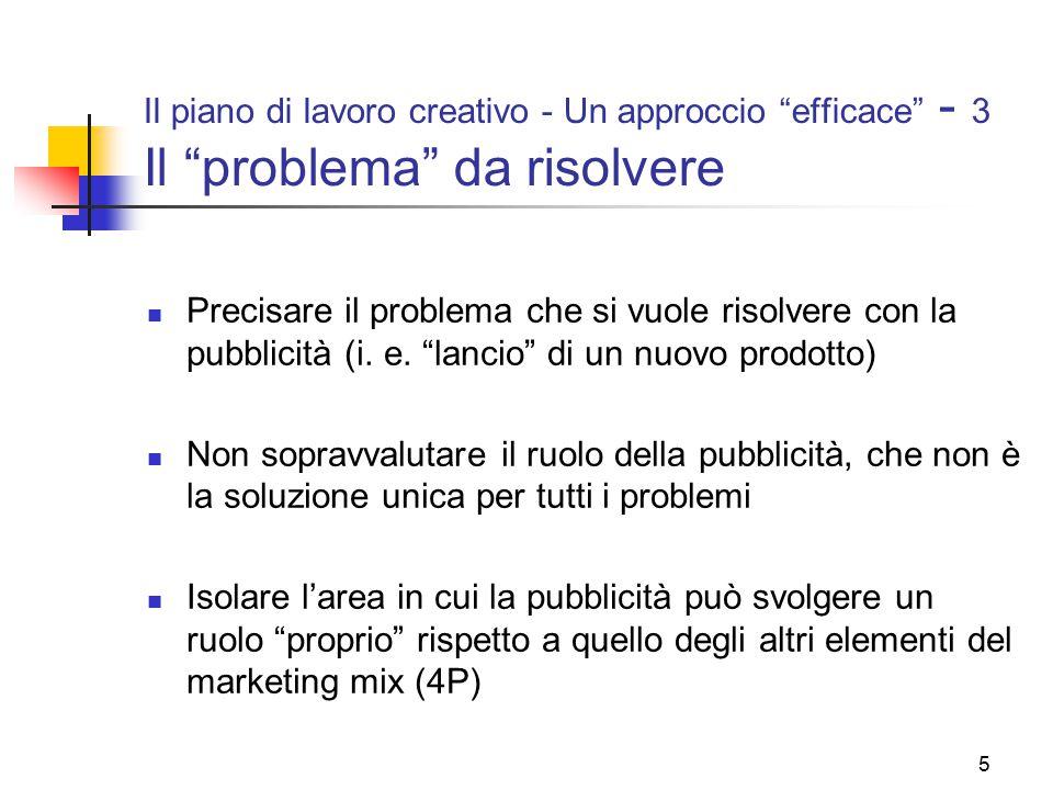 """5 Il piano di lavoro creativo - Un approccio """"efficace"""" - 3 Il """"problema"""" da risolvere Precisare il problema che si vuole risolvere con la pubblicità"""