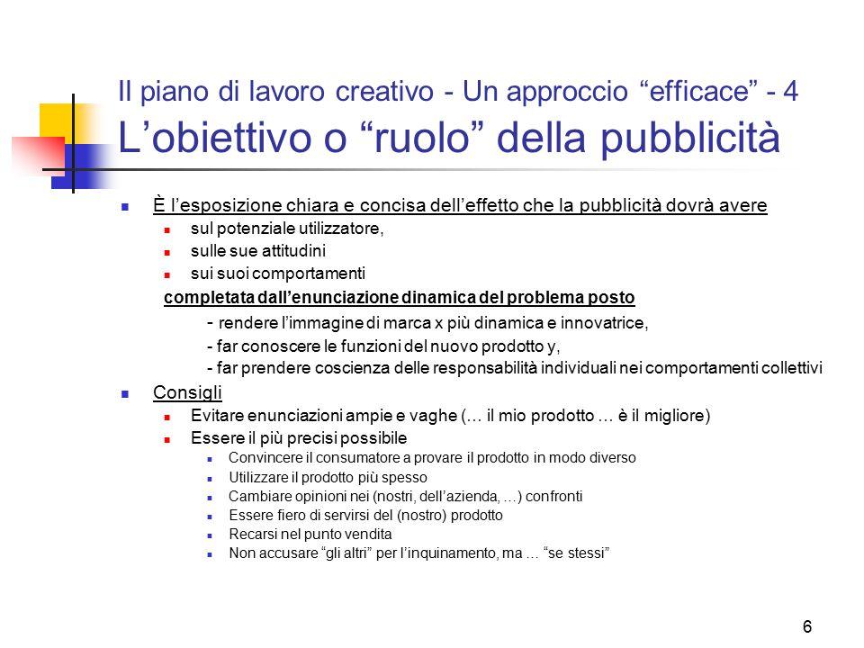 27 Il piano di lavoro creativo - Principi generali di buona pubblicità – 3 Le strade creative e la pubblicità - 4  Alcuni modi di avvicinare il problema per la pubblicità (v.