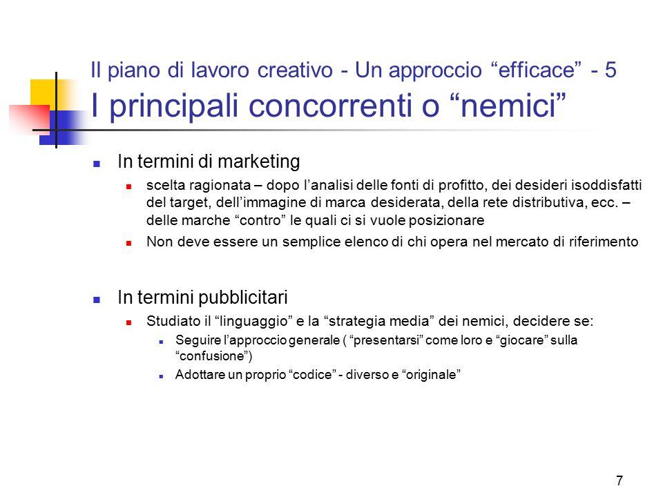"""7 Il piano di lavoro creativo - Un approccio """"efficace"""" - 5 I principali concorrenti o """"nemici"""" In termini di marketing scelta ragionata – dopo l'anal"""