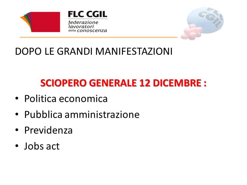 DOPO LE GRANDI MANIFESTAZIONI SCIOPERO GENERALE 12 DICEMBRE : Politica economica Pubblica amministrazione Previdenza Jobs act