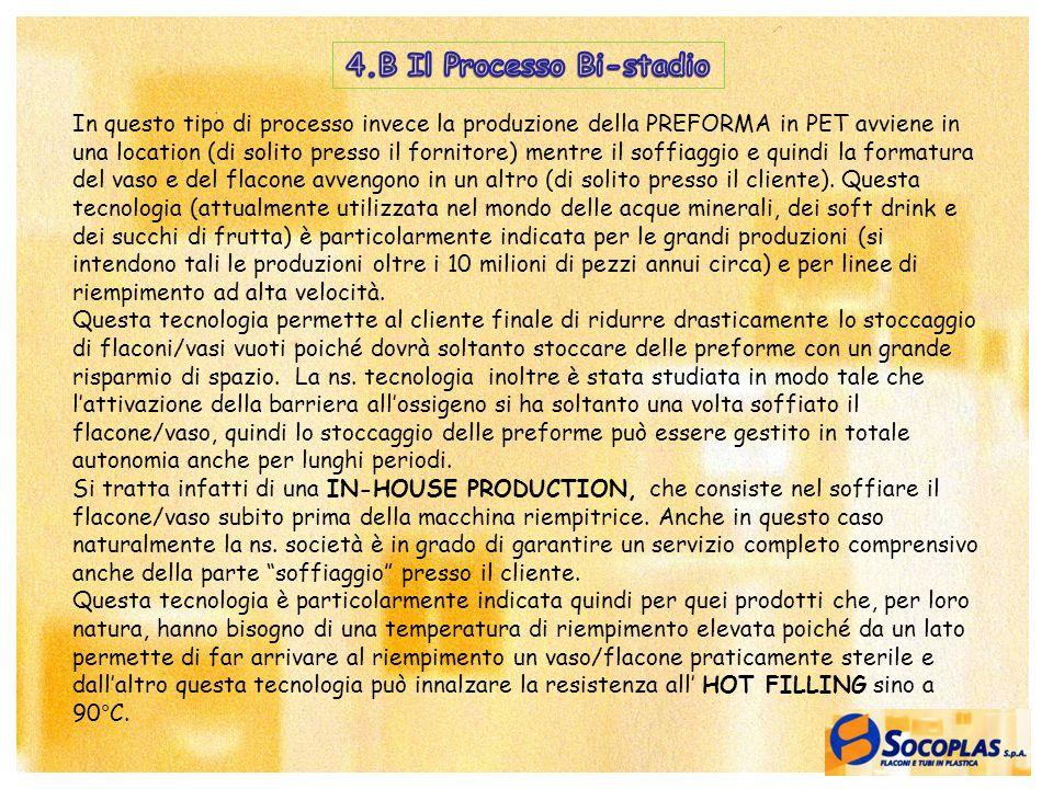 16 In questo tipo di processo invece la produzione della PREFORMA in PET avviene in una location (di solito presso il fornitore) mentre il soffiaggio