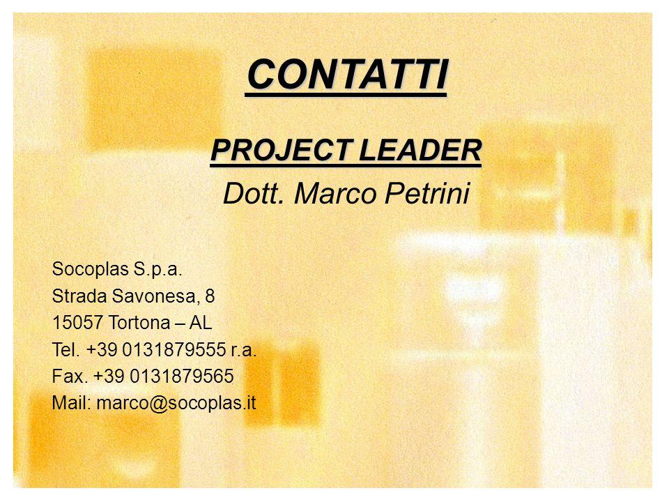 20 CONTATTI PROJECT LEADER Dott. Marco Petrini Socoplas S.p.a. Strada Savonesa, 8 15057 Tortona – AL Tel. +39 0131879555 r.a. Fax. +39 0131879565 Mail