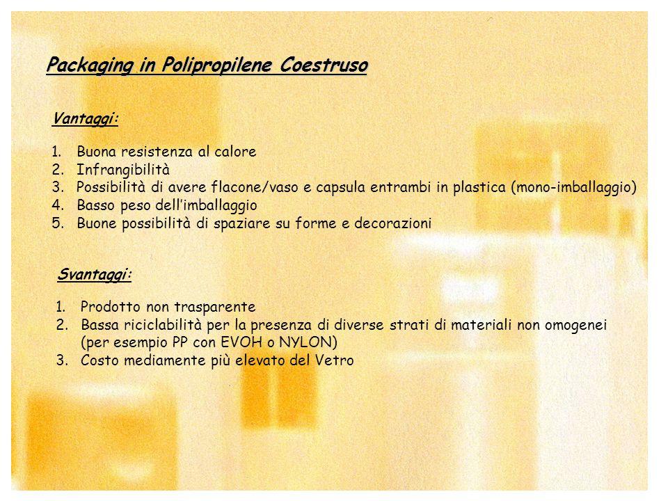 6 Packaging in Polipropilene Coestruso Vantaggi: Svantaggi: 1.Buona resistenza al calore 2.Infrangibilità 3.Possibilità di avere flacone/vaso e capsul