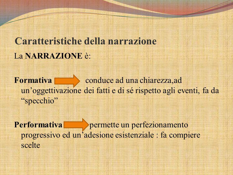 Caratteristiche della narrazione La NARRAZIONE è: Formativa conduce ad una chiarezza,ad un'oggettivazione dei fatti e di sé rispetto agli eventi, fa da specchio Performativa permette un perfezionamento progressivo ed un'adesione esistenziale : fa compiere scelte