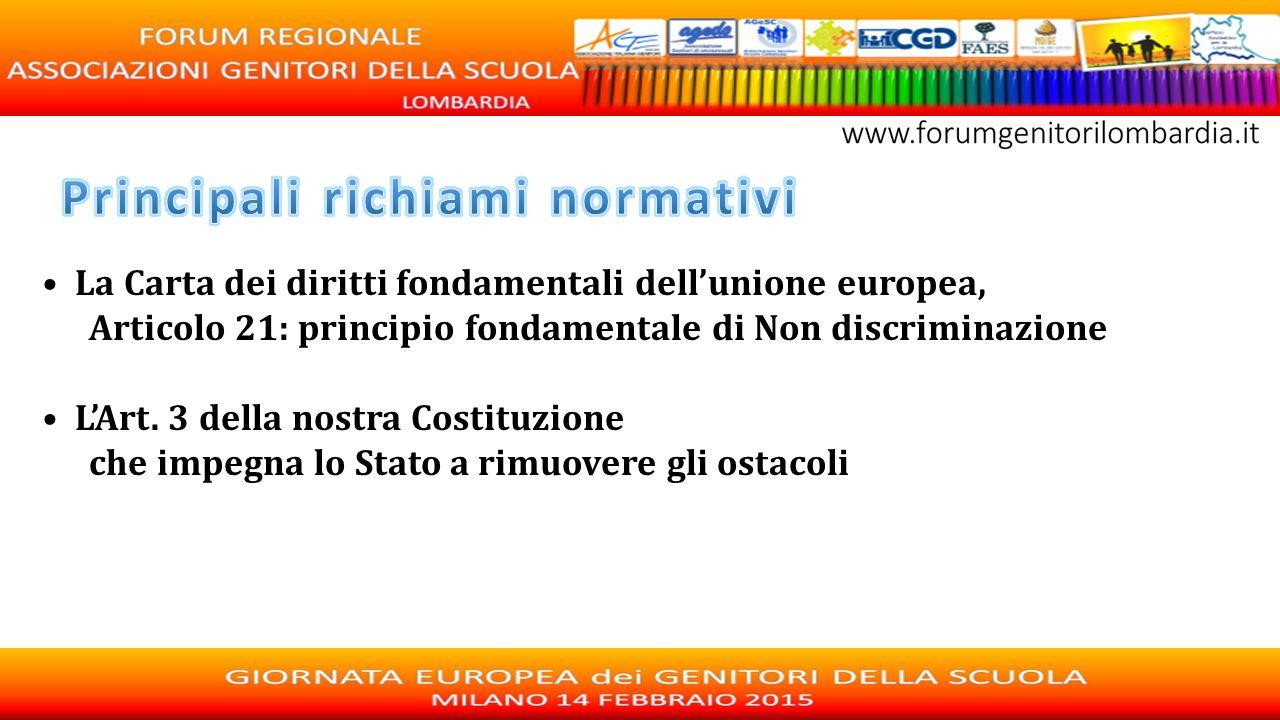 La Carta dei diritti fondamentali dell'unione europea, Articolo 21: principio fondamentale di Non discriminazione L'Art. 3 della nostra Costituzione c