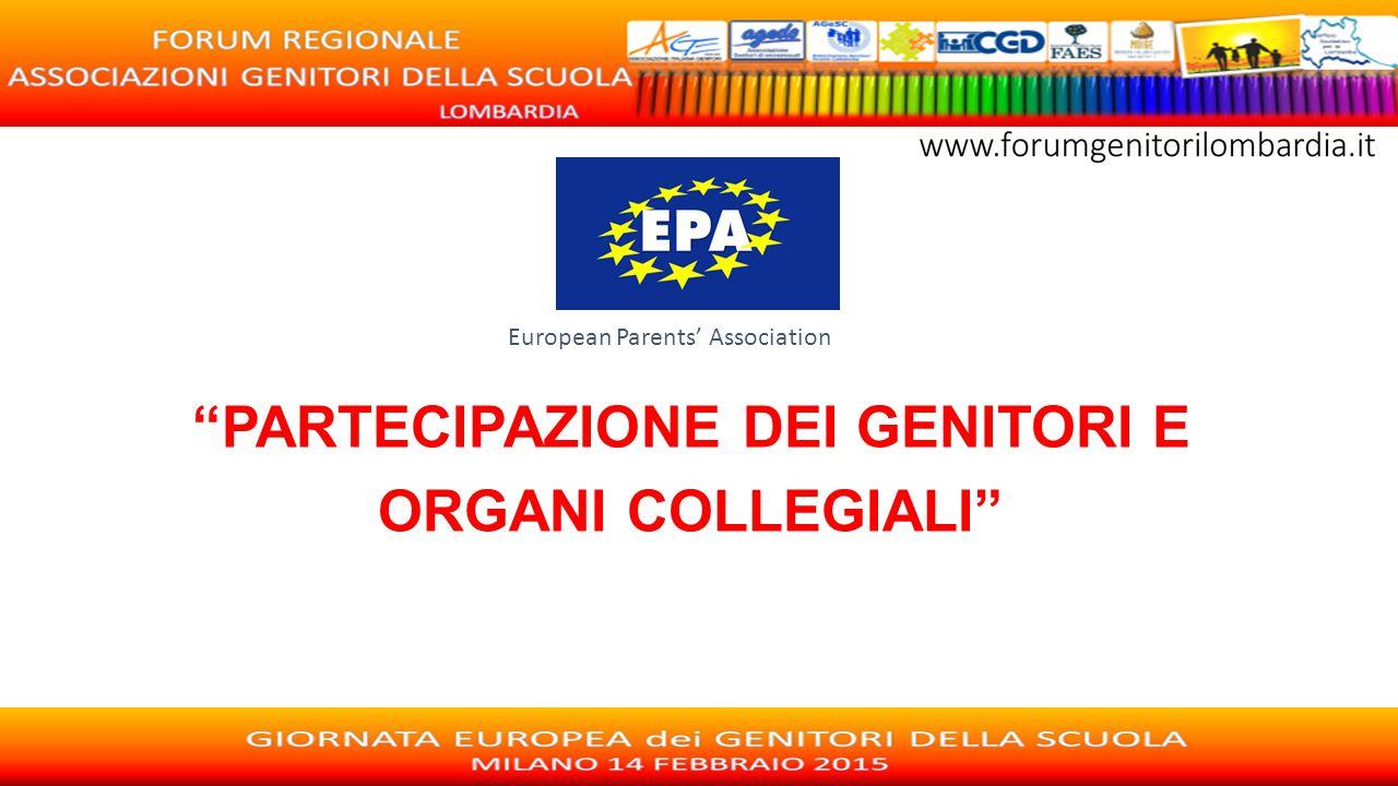 """European Parents' Association """"PARTECIPAZIONE DEI GENITORI E ORGANI COLLEGIALI"""""""