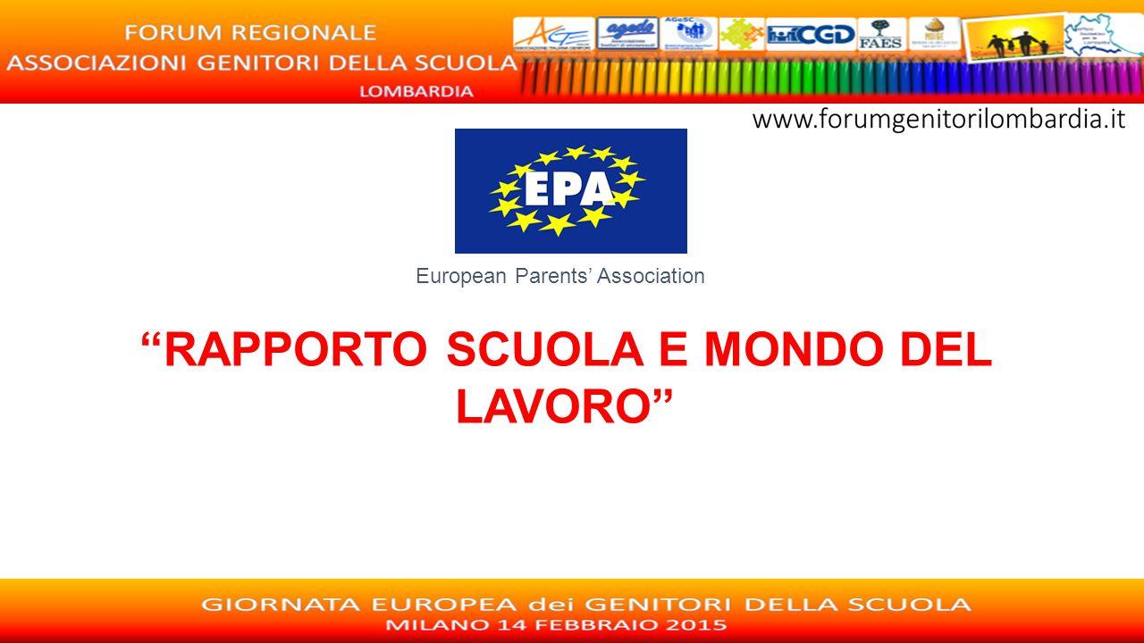 """European Parents' Association """"RAPPORTO SCUOLA E MONDO DEL LAVORO"""""""