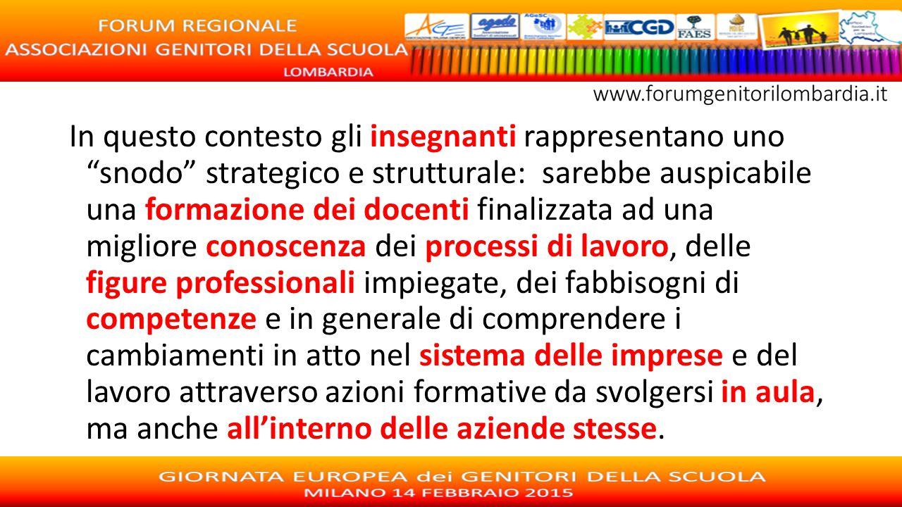 """In questo contesto gli insegnanti rappresentano uno """"snodo"""" strategico e strutturale: sarebbe auspicabile una formazione dei docenti finalizzata ad un"""