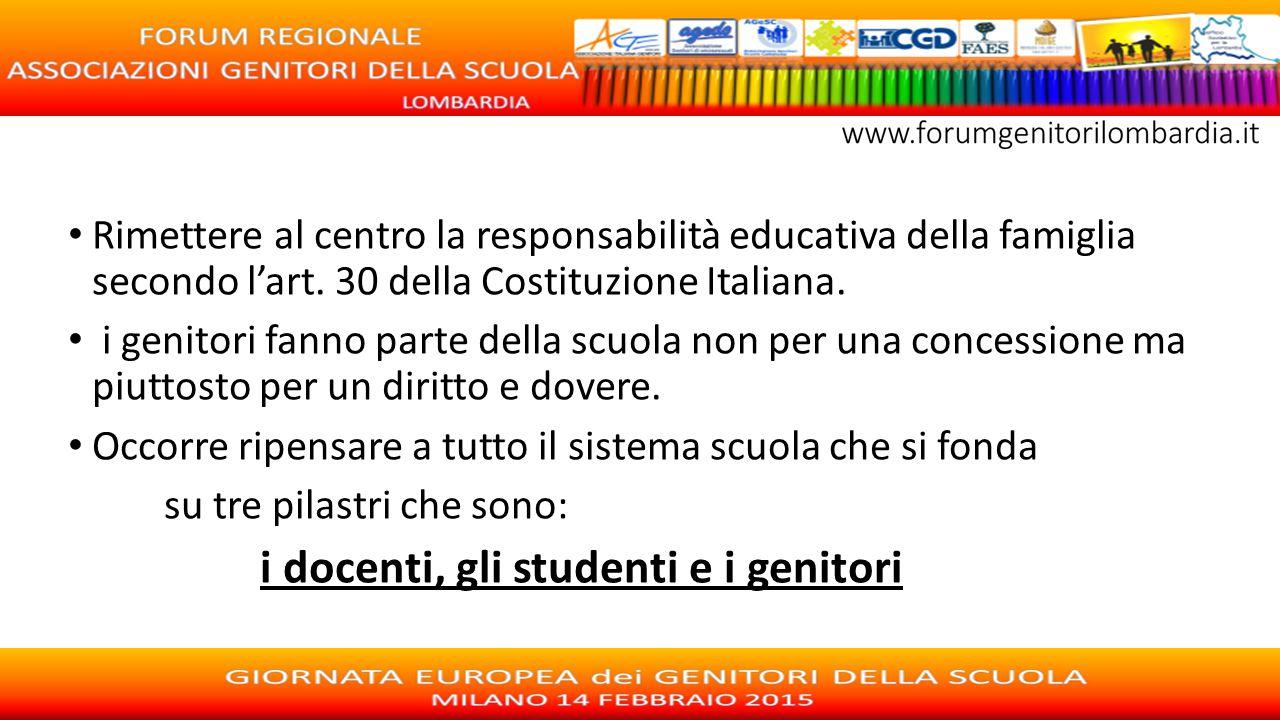 Rimettere al centro la responsabilità educativa della famiglia secondo l'art. 30 della Costituzione Italiana. i genitori fanno parte della scuola non