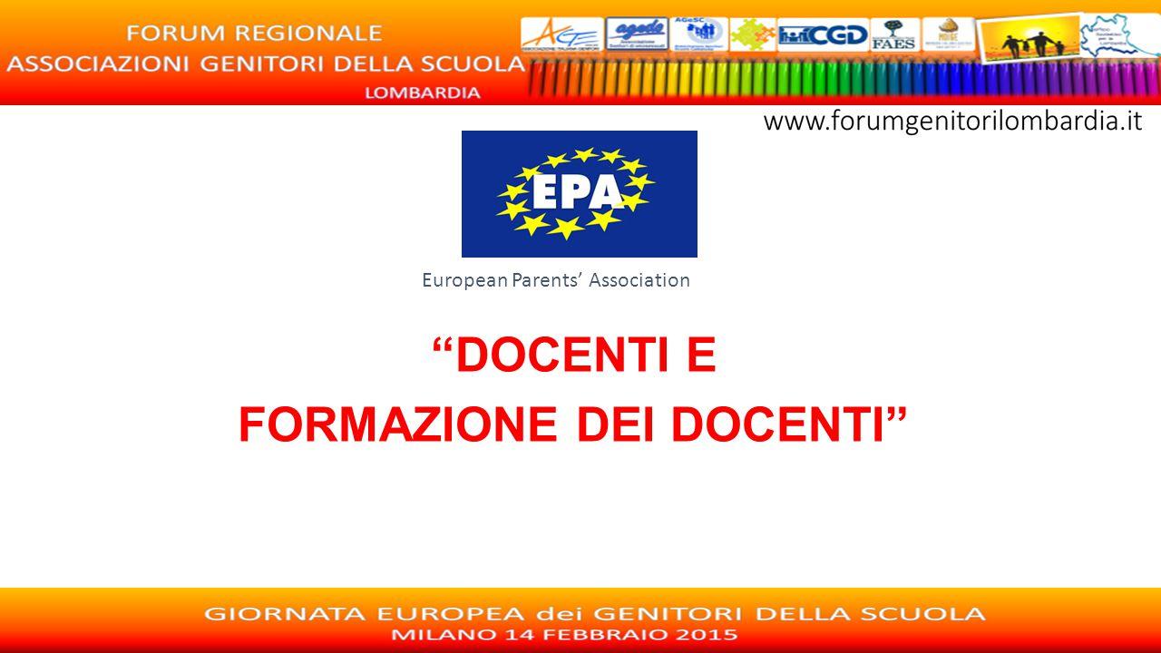 """European Parents' Association """"DOCENTI E FORMAZIONE DEI DOCENTI"""""""