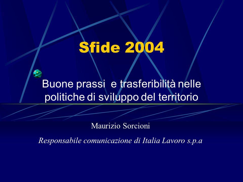 Sfide 2004 Buone prassi e trasferibilità nelle politiche di sviluppo del territorio Maurizio Sorcioni Responsabile comunicazione di Italia Lavoro s.p.a