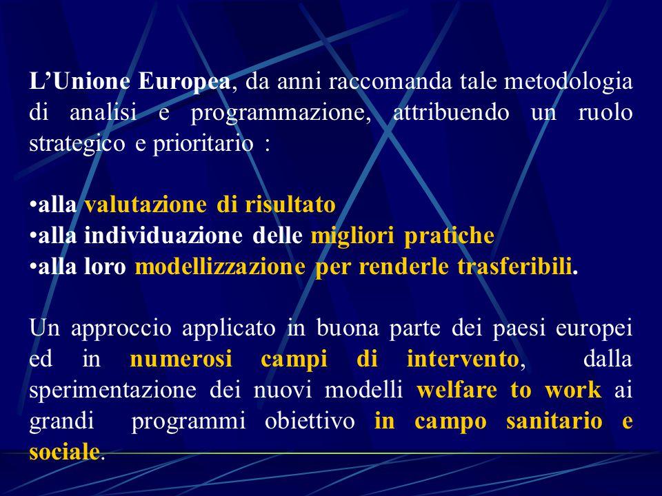L'Unione Europea, da anni raccomanda tale metodologia di analisi e programmazione, attribuendo un ruolo strategico e prioritario : alla valutazione di risultato alla individuazione delle migliori pratiche alla loro modellizzazione per renderle trasferibili.