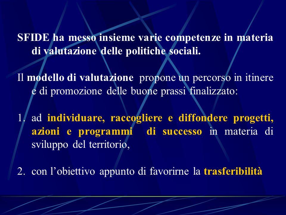 SFIDE ha messo insieme varie competenze in materia di valutazione delle politiche sociali.