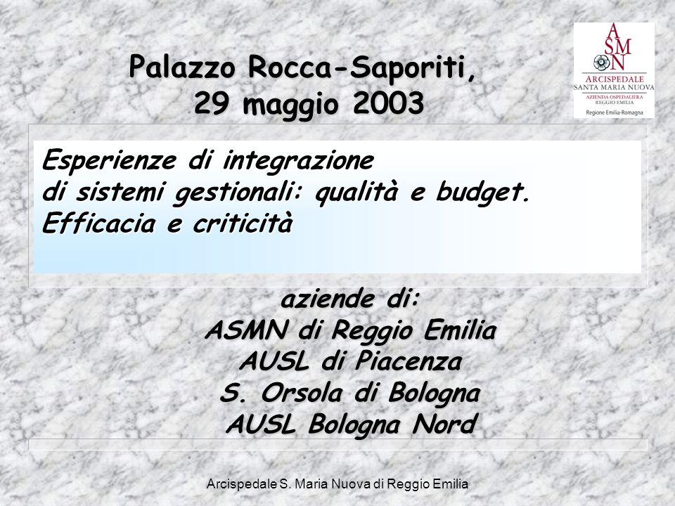 Arcispedale S. Maria Nuova di Reggio Emilia aziende di: ASMN di Reggio Emilia AUSL di Piacenza S. Orsola di Bologna AUSL Bologna Nord Palazzo Rocca-Sa
