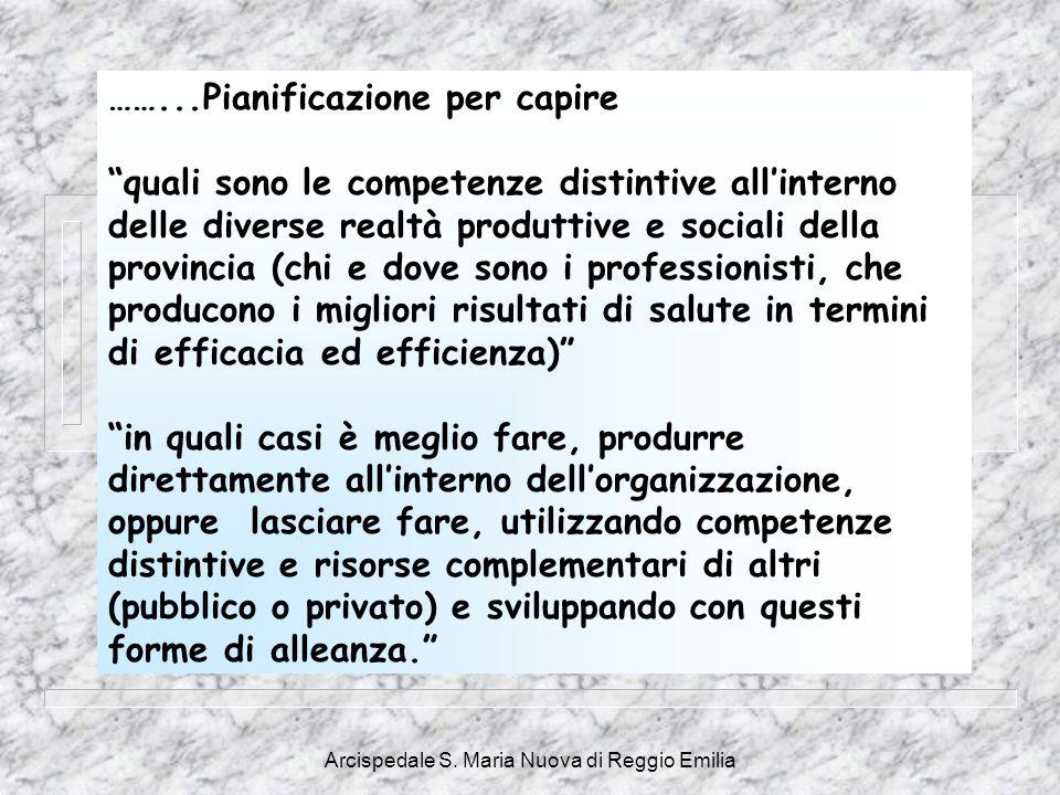 """Arcispedale S. Maria Nuova di Reggio Emilia ……...Pianificazione per capire """"quali sono le competenze distintive all'interno delle diverse realtà produ"""
