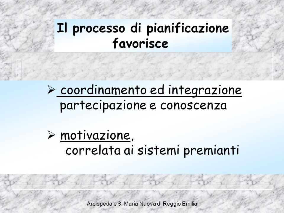 Arcispedale S. Maria Nuova di Reggio Emilia  coordinamento ed integrazione partecipazione e conoscenza  motivazione, correlata ai sistemi premianti