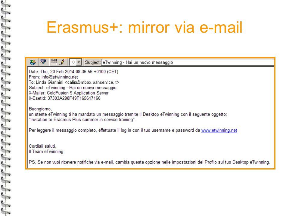 Erasmus+: mirror via e-mail