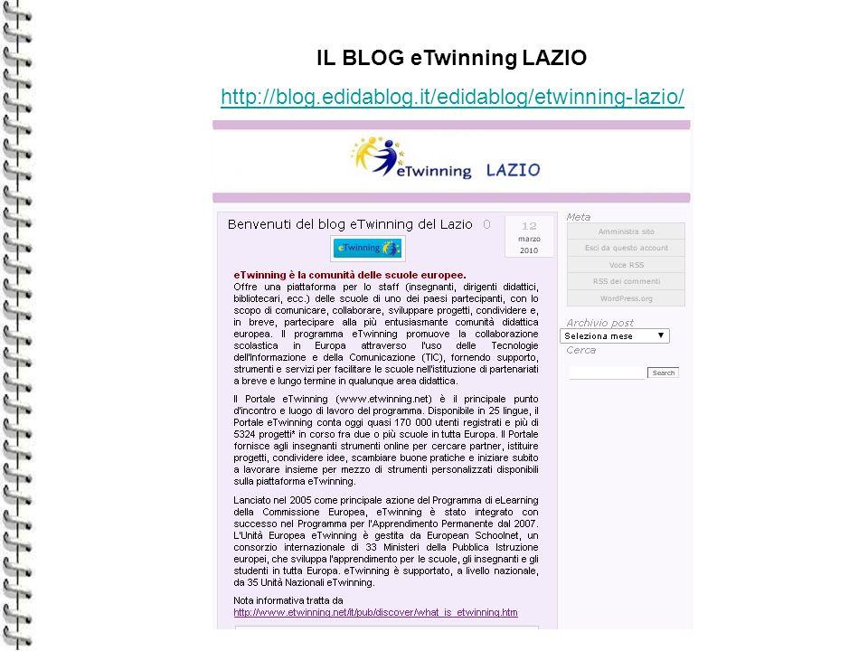 IL BLOG eTwinning LAZIO http://blog.edidablog.it/edidablog/etwinning-lazio/