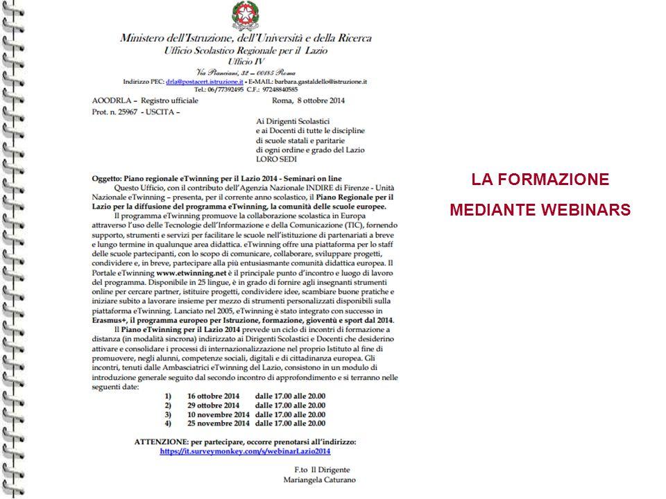 LA FORMAZIONE MEDIANTE WEBINARS