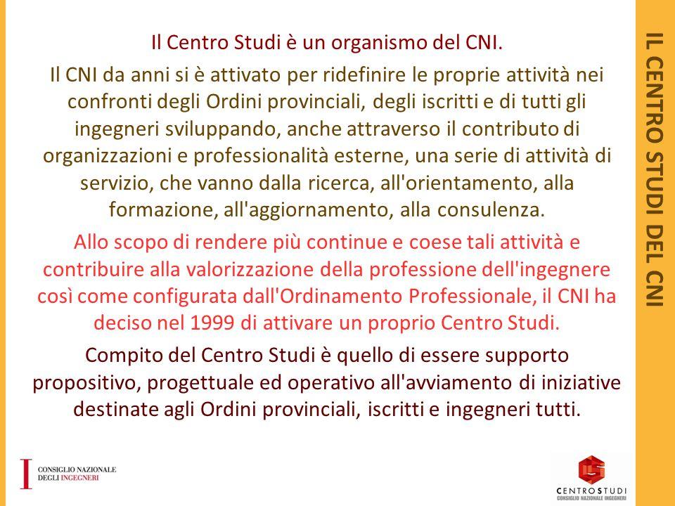 IL CENTRO STUDI DEL CNI Il Centro Studi è un organismo del CNI. Il CNI da anni si è attivato per ridefinire le proprie attività nei confronti degli Or