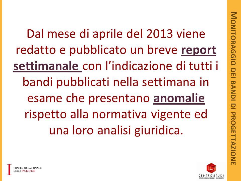 M ONITORAGGIO DEI BANDI DI PROGETTAZIONE Dal mese di aprile del 2013 viene redatto e pubblicato un breve report settimanale con l'indicazione di tutti