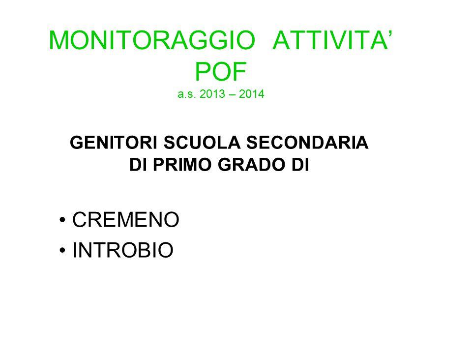 MONITORAGGIO ATTIVITA' POF a.s. 2013 – 2014 GENITORI SCUOLA SECONDARIA DI PRIMO GRADO DI CREMENO INTROBIO