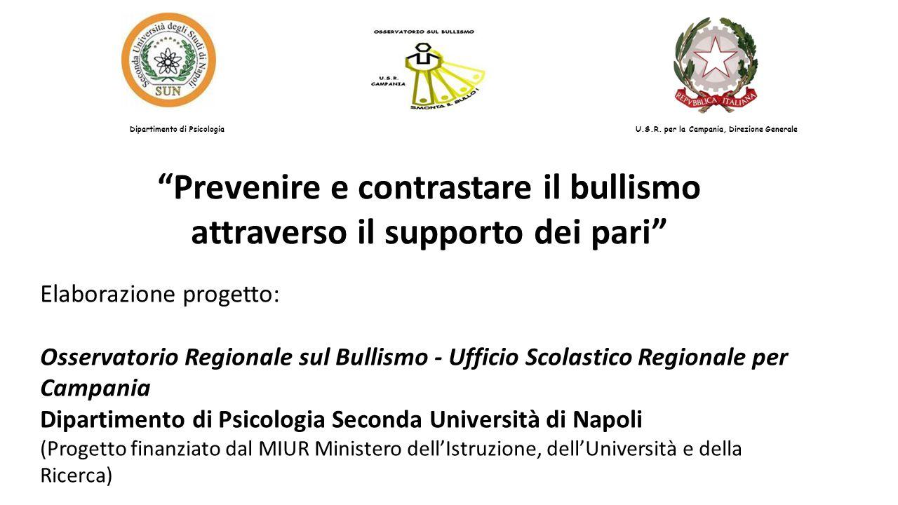 """""""Prevenire e contrastare il bullismo attraverso il supporto dei pari"""" Elaborazione progetto: Osservatorio Regionale sul Bullismo - Ufficio Scolastico"""