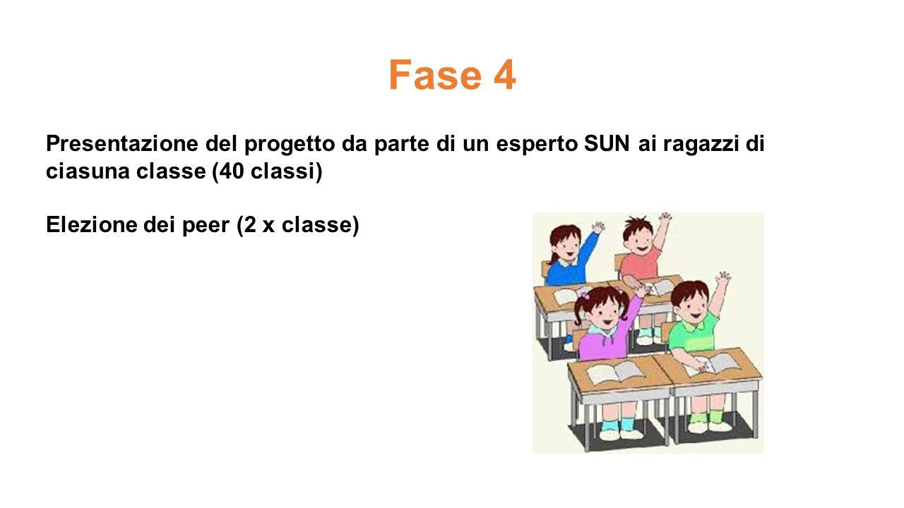 Presentazione del progetto da parte di un esperto SUN ai ragazzi di ciasuna classe (40 classi) Elezione dei peer (2 x classe) Fase 4