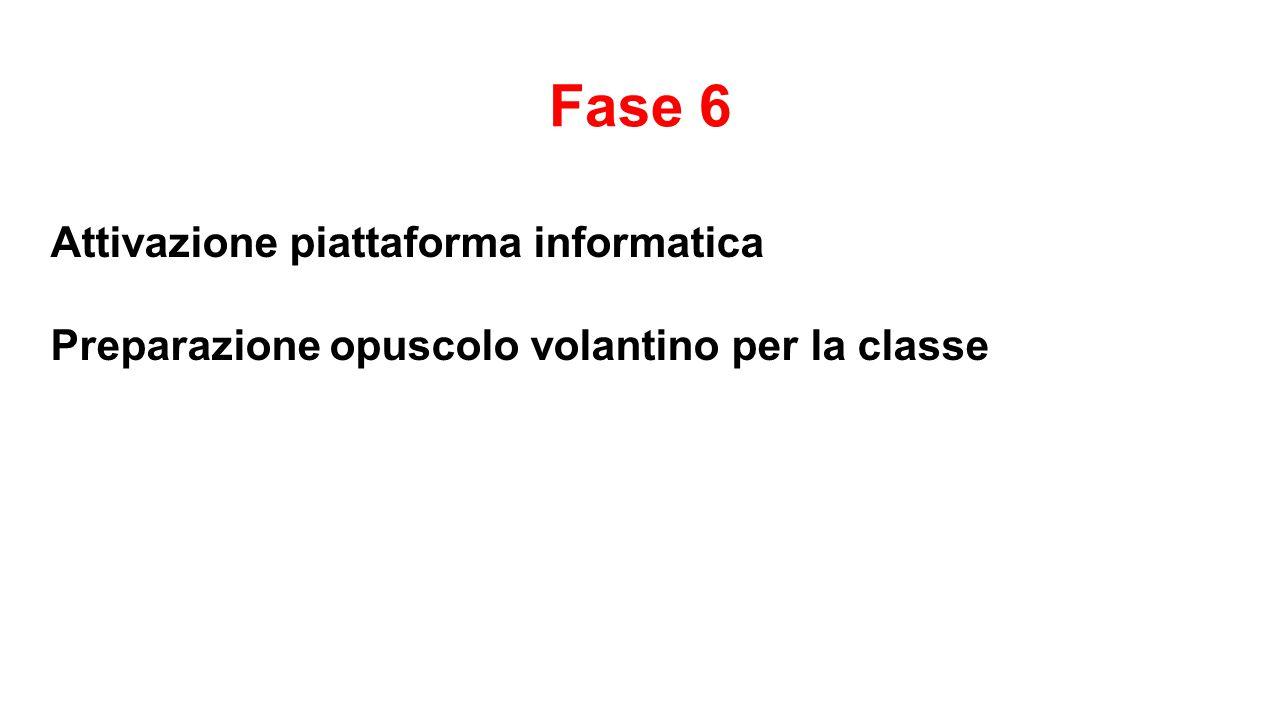 Fase 6 Attivazione piattaforma informatica Preparazione opuscolo volantino per la classe