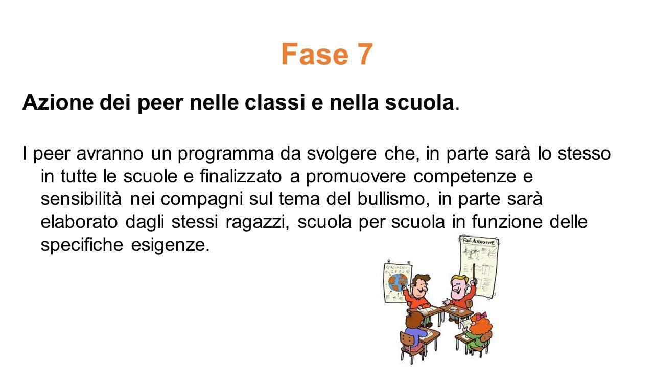Fase 7 Azione dei peer nelle classi e nella scuola. I peer avranno un programma da svolgere che, in parte sarà lo stesso in tutte le scuole e finalizz
