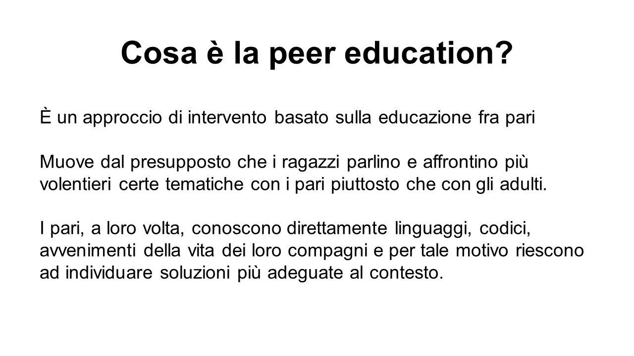 Cosa è la peer education? È un approccio di intervento basato sulla educazione fra pari Muove dal presupposto che i ragazzi parlino e affrontino più v