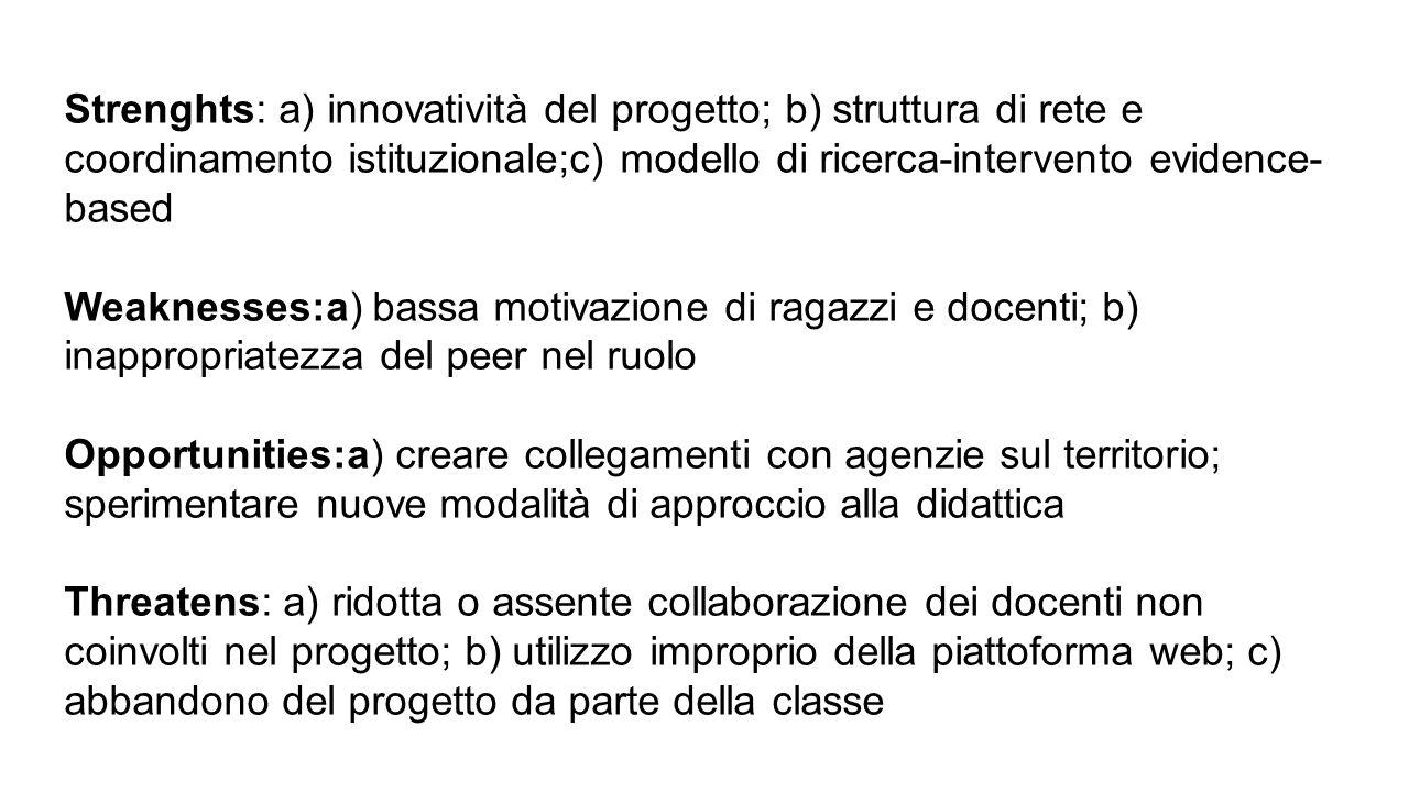 Strenghts: a) innovatività del progetto; b) struttura di rete e coordinamento istituzionale;c) modello di ricerca-intervento evidence- based Weaknesse