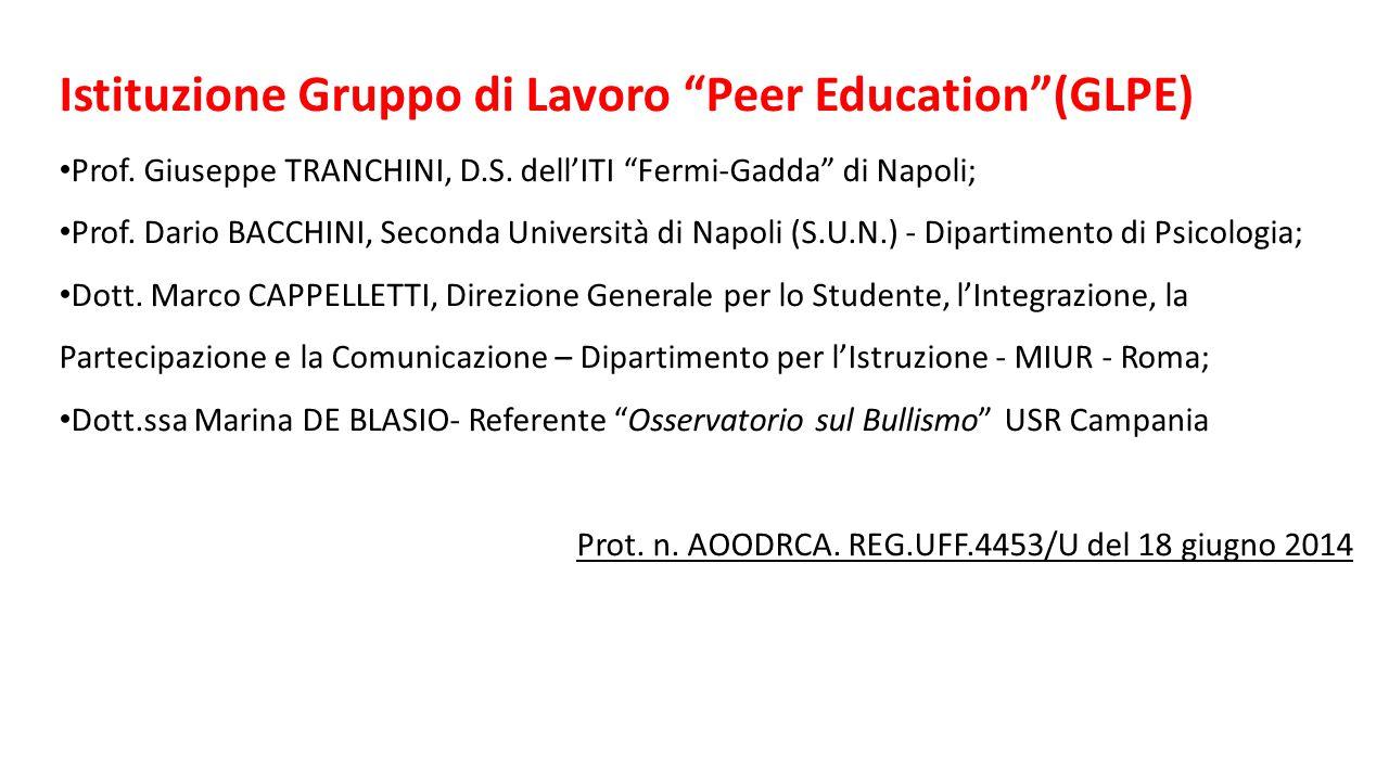 """Istituzione Gruppo di Lavoro """"Peer Education""""(GLPE) Prof. Giuseppe TRANCHINI, D.S. dell'ITI """"Fermi-Gadda"""" di Napoli; Prof. Dario BACCHINI, Seconda Uni"""