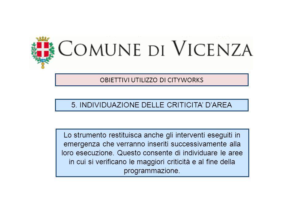 DATI COMUNE DI VICENZA PRIMO INTERVENTO INSERITO 29.09.2010 TOTALE INTERVENTI INSERITI 4.450 TOTALE INTERVENTI INSERITI 2014 - 1277
